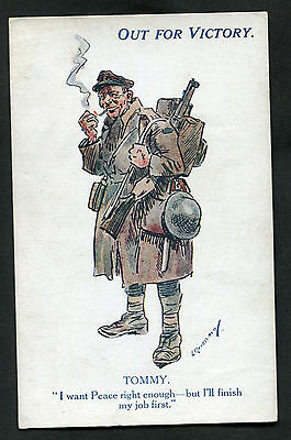 C1918 WWI: Illustrated Card: Out For Victory: Tommy (British Soldier)