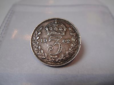 1902 Silver Threepence Coin, King Edward VII, sterling silver