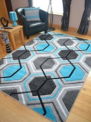 Modern Thick Soft Quality Teal Blue Grey Silver Floor Mat Rugs Long Hall Runner