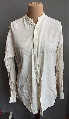 Vintage Evening Wear Shirt Mens Collarless Silk Oxford Hall Brothers