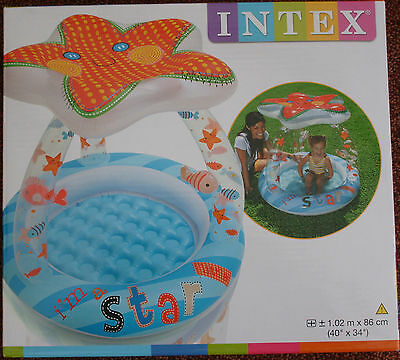 Intex Lil Star Inflatable Baby Paddling Pool With Shade Fun Outdoor's Or Indoors
