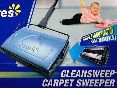Carpet Sweeper Oates Clean Sweep Light Weight No Electricity Cordless Brand New