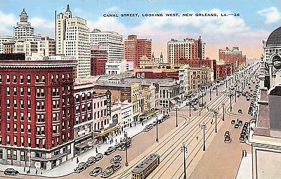 Postcard LA New Orleans Canal Street View Looking West Vintage Louisiana PC