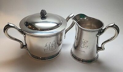 Antique TIFFANY & CO. Sterling Silver Lidded Sugar Bowl And Creamer 5962