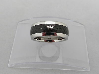Emporio Armani Mens Stainless Steel Carbon Fibre Ring Size - V  Genuine
