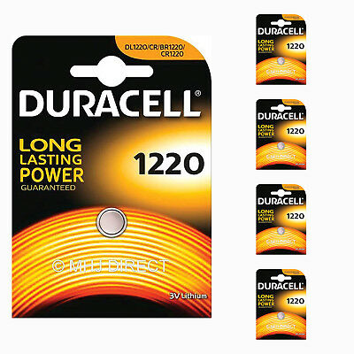 5 x Genuine Duracell CR1220 DL1220 Lithium 3v Batteries Coin Cell Use By 2026