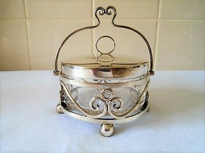 Vintage Star Cut Glass Liner Sugar Bowl Silver Plated Handle Epns England