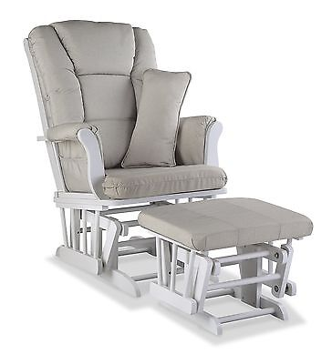 Storkcraft Tuscany Custom Glider and Ottoman, White/Taupe Swirl FREE SHIPPING