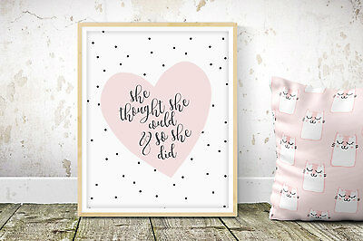 She Thought She Could - Nursery Print - Children's Wall Art - Baby Decor Pink