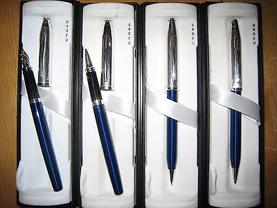 Cross Century II Black or Blue Lacquer and Silver Tuxedo Rollingball Pen BNIB