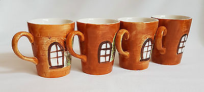 Lovely 1940's Price Kensington Cottage Ware Four Mugs Hand Painted