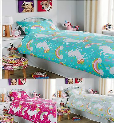 New Kids/Girls Unicorn Duvet/Quilt Cover Set with Pillow Cases Single OR Double