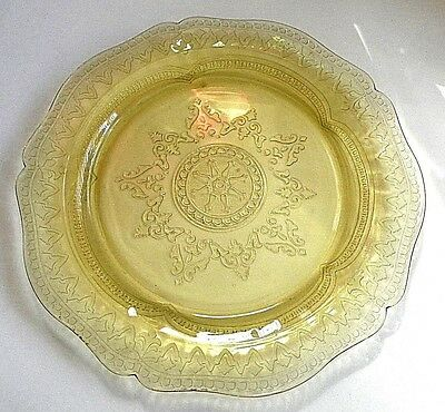 "Mid-Century Yellow Gold Depression Glass 11"" Plate/Platter - Very Detailed"