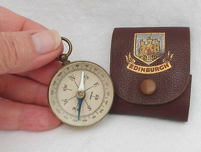 Vintage BRASS CASED COMPASS Marked Foreign in LEATHER CASE Marked EDINBURGH