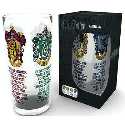 Harry Potter - Hogwarts House Crests Pint Glass Tumbler - New & Official In Box
