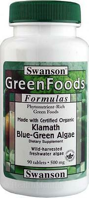 Swanson GreenFoods 100%Certified Organic Klamath Blue Green Algae  500mg, 90tabl