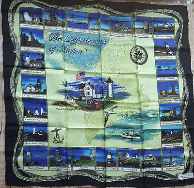 NEW Maine Lighthouses Scarf Silk Nubble Light Nautical Souvenir