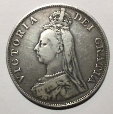 1890 - Great Britain - Double Florin Genuine Silver Coin