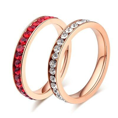 3mm Titanium Steel White/Red CZ Band Women's Gift Silver/Rose Gold Ring Size 5-9