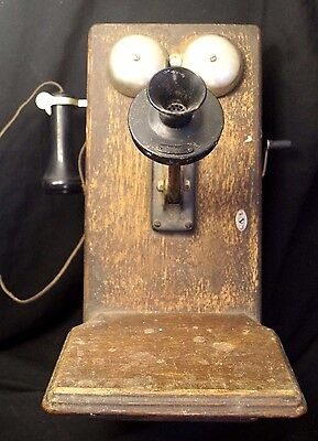 Antique 1900 - 1910 Western Electric Oak Cabinet Wall Phone 100% Complete WORKS