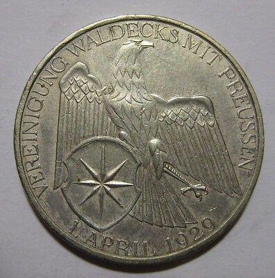 1929A - Germany - 3 Mark Genuine Silver Coin  - Waldeck-Prussia Union