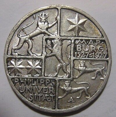 1927A - Germany - 3 Mark Genuine Silver Coin  - University of Marburg