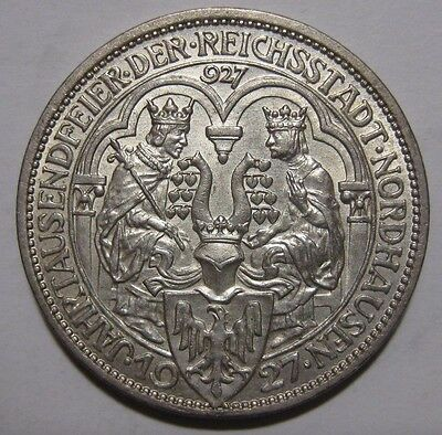 1927A - Germany - 3 Mark Genuine Silver Coin - 1000th Founding of Nordhausen