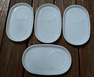 4 Vintage Federal Soup Snack Plates Lucheon Trays White Heat Proof Milk Glass