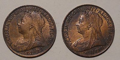 Great Britain - Lot of 2 Farthing Coins from 1896 and 1899