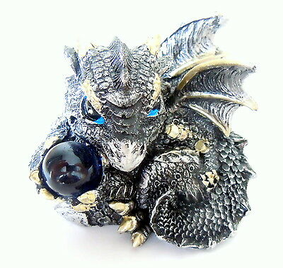 Nemesis Now Silver Dragon Figurine Magical Globe Mystical Fantasy Ornament