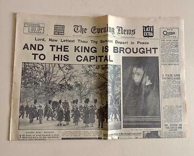 Evening News Vintage Newspaper 11 Feb 1952 Body King George VI Brought to London