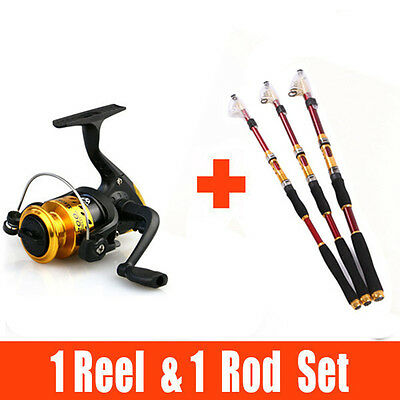 2.1M-3.6M Fishing Rod Set Carbon Telescopic Fishing Rod + Spinning Fishing Reel