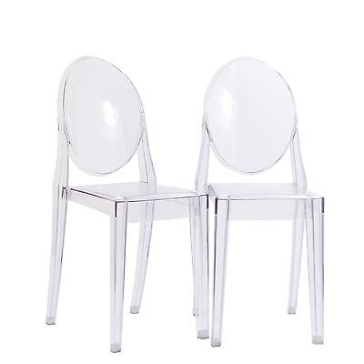 LexMod Ghost Side Chair Set in Clear FREE SHIPPING (BRAND NEW)