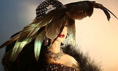 """OOAK black Coque feather, sequins & Swarovsky crystal hat for 16"""" Sybarite dolls"""