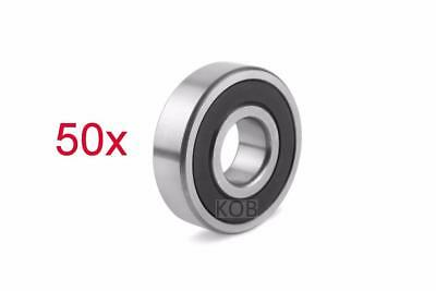 50 Pcs Premium 6802 2RS ABEC3 Rubber Sealed Deep Groove Ball Bearing 15x24x5mm