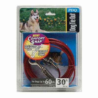 Pdq Dog Tie Out With Spring 30 Ft. Large