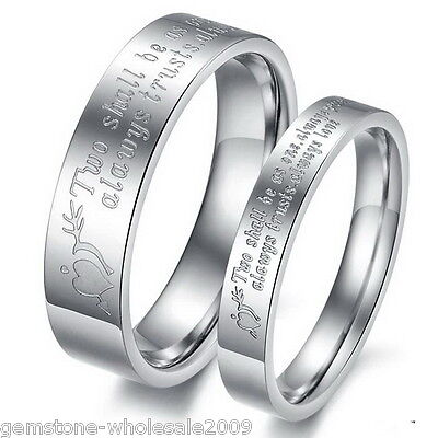 1PC Stainless Steel Couple Rings Love Fashion Lettering Promise Wedding Band GW