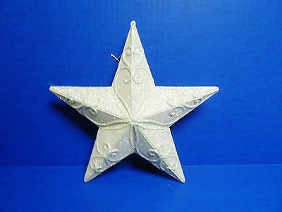 Pier 1 imports Large White Glitter Star Christmas Ornament New with Tag