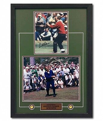 Arnold Palmer Signed The Masters Golf Champion Red Sweater Collage 28x20 Frame