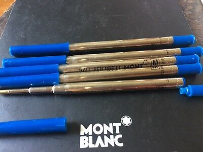 Authentic  Montblanc Set/lot  Blue Ballpoint Med 5 Refills W/ Extensions New