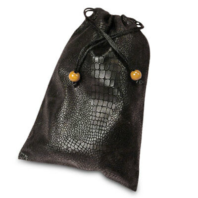 """NEW Faux Leather Black Tarot Bag 5x7"""" Runes Crystals Snakeskin Drawstring Pouch"""