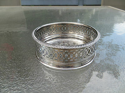 Vintage English Silverplated Bottle Coaster by Apex