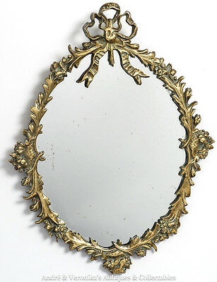 Antique Victorian Solid BRASS Framed HALL MIRROR Ornate, Unusual, Toilet, Rococo