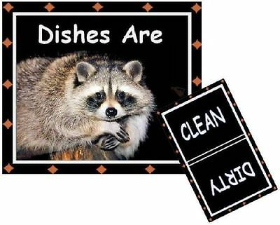 RACCOON  DISHWASHER MAGNET - Clean/Dirty *Ship FREE