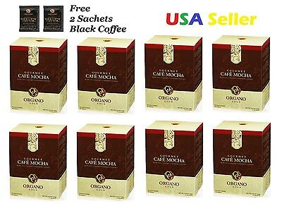 8 BOXES Organo Gold CAFE MOCHA SHIPS EXPEDITE w/ free 2 sample Black Coffee