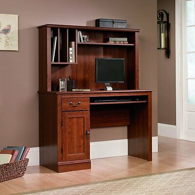 Sauder Camden County Computer Desk with Hutch, Planked Cherry Finish (NEW)