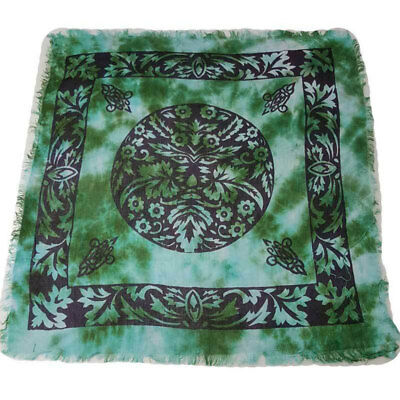 """NEW IN PACKAGE Green Man Altar Cloth 18"""" Celtic Wicca Pagan Rayon Fringed"""