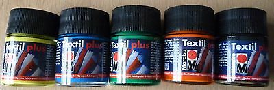 Marabu Textil Plus Fabric Textile Paint, 5 x 50ml Set 2 green black lemon orange