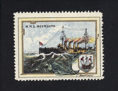 WWI UK GB Great Britain Warship HMS Weymouth Delandre Stamp Label  MNH