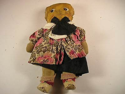 Antique Early Oil Cloth rag doll painted features hand made dress & shoes